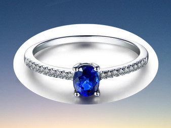 Oval Sapphire Engagement Ring Pave Diamond Wedding 14K White Gold 4x5mm
