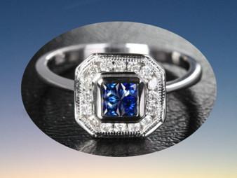 Princess Sapphire Engagement Ring Pave Diamond Wedding 14k White Gold Invisible Diamonds