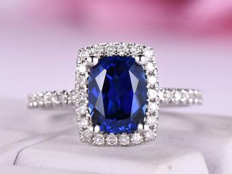 Cushion Sapphire Engagement Ring Pave Diamond Wedding 14K White Gold 6x8mm