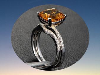2pc Bridal Set,Cushion Citrine Engagement Ring Pave Diamond Wedding Band 14K White Gold 10mm