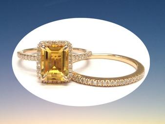 2pc Bridal Set,Emerald Cut Citrine Engagement Ring Pave Diamond Wedding 14K Rose Gold 6x8mm