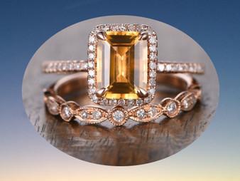 2pc Bridal Set,Emerald Cut Citrine Engagement Ring Pave Diamond Wedding 14K Rose Gold 6x8mm Art Deco