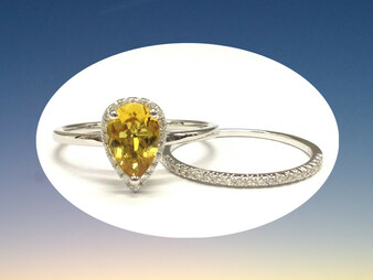 2pc Bridal Set,Pear Citrine Engagement Ring Pave Diamond Wedding 14K White Gold 6x9mm