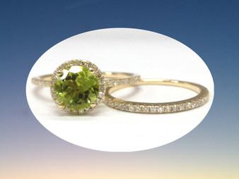 2pc Bridal Set,Round Peridot Engagement Ring Pave Diamond Wedding Band 14K Yellow Gold 7mm