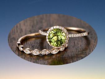 Round Peridot Engagement Ring Diamond Wedding Ring 14K Yellow Gold 7mm