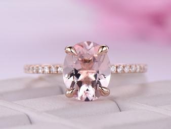 Oval Morganite Engagement Ring Full Cut Diamond Wedding Ring 14K Rose Gold 8x10mm
