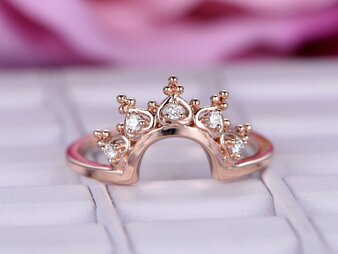 Moissanite Tiara Wedding Ring 14K Rose Gold