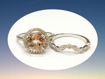 2pc Bridal Set,Round Morganite Engagement Ring Diamond Wedding Band 14K White Gold 8mm Curved