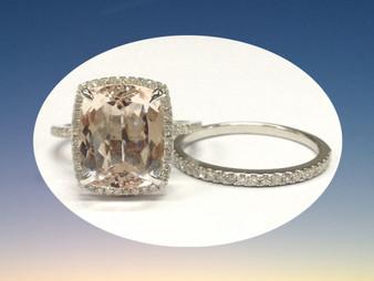 2pc Bridal Set,Cushion Morganite Engagement Ring Diamond Wedding Band 14K White Gold 10x12mm
