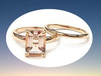 2pc Bridal Set,Emerald Cut Morganite Engagement Ring 14K Rose Gold,7x9mm,Plain Gold Band