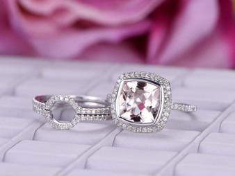 3pc Bridal Trio Set, Cushion Morganite Engagement Ring Diamond Wedding 14K White Gold 9mm