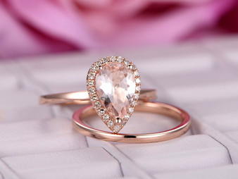2pc Bridal Set,Pear Morganite Engagement Ring Plain Gold Band 14K Rose Gold 6x9mm
