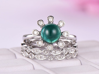 3pc Bridal Set,Round Emerald Engagement Ring Art Deco Diamond Wedding Band 14K White Gold 7mm