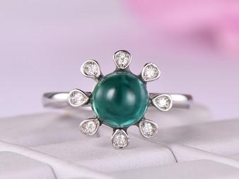 Round Emerald Engagement Ring Diamond Wedding 14K White Gold 7mm