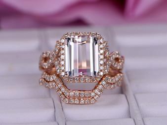 Trio Bridal Set, Emerald Cut Morganite Engagement Ring Diamond Infinite Love Shank 14K Rose Gold 8x10mm