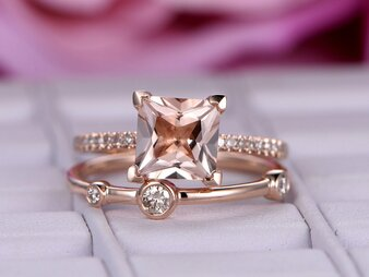 2pc Bridal Set,Princess Morganite Wedding Ring Diamond Bubble Band 14K Rose Gold 8mm