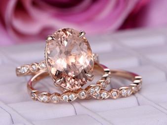 Trio Bridal Set, 10ct Elongated Oval Morganite Engagement Ring Art Deco Diamond Bands 14K Rose Gold 12x16mm