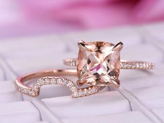 2pc Bridal Set,Cushion Morganite Engagement Ring Contoured Diamond Wedding Band 14K Rose Gold 9mm