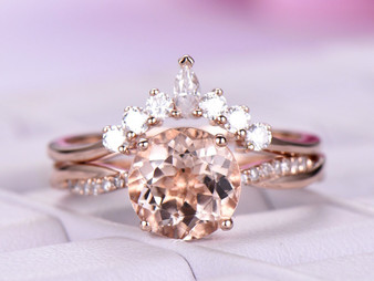 2pc Bridal Set,Round Morganite Ring Bridal Round/Marquise Moissanite Tiara Band 14K Rose Gold 8mm