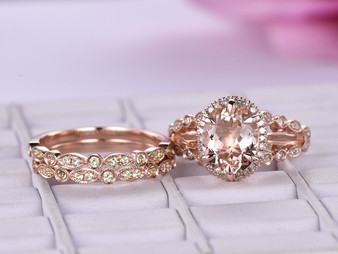 Trio Bridal Set, Oval Morganite Engagement Ring Peridot Wedding Band 14K Rose Gold 8x10mm