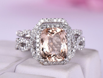 2pc Bridal Set,Cushion Morganite Ring Contour Diamond Band 14K White Gold 8x10mm