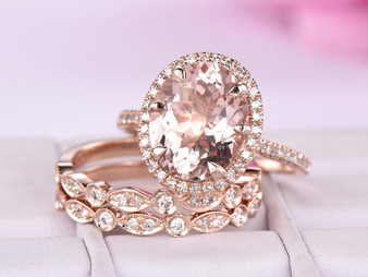 Trio Bridal Set, Oval Morganite Ring Trio Bridal Sets Art Deco Diamond Band 14K Rose Gold 9x11mm