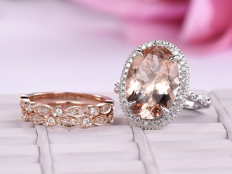 Trio Bridal Set, Oval Morganite Ring Trio Diamond Art Deco Band 14K Two Tone Gold 10x14mm