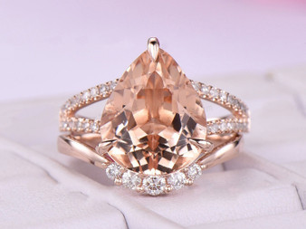 2pc Bridal Set,Pear Morganite Ring VS Diamond Split Shank Contour Matching Band 14K Rose Gold 10x12mm