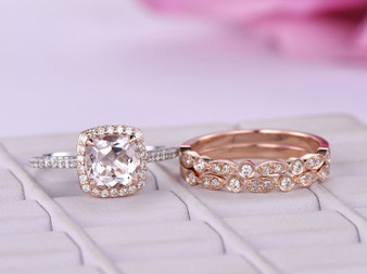 Trio Bridal Set, Cushion Morganite Cathedral Ring Diamond Art Deco Band 14K Two Tone Gold 7mm