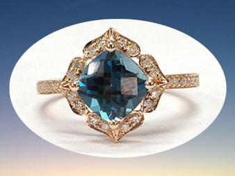 Cushion London Blue Topaz Engagement Ring Pave Diamond Wedding 14K Rose Gold,8mm,Floral Style