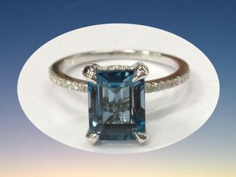 Emerald Cut London Blue Topaz Engagement Ring Pave Diamond Wedding 14K White Gold 7x9mm