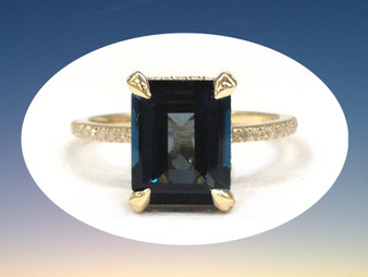 Emerald Cut London Blue Topaz Engagement Ring Diamond Wedding 14K Yellow Gold 8x10mm