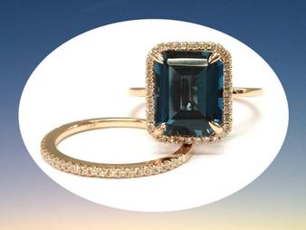 2pc Bridal Set,Emerald Cut London Blue Topaz Engagement Ring Diamond Wedding 14K Rose Gold 8x10mm