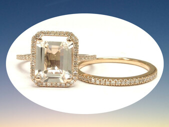 2pc Bridal Set,Emerald Cut White Topaz Engagement Ring Diamond Wedding 14K Rose Gold 8x10mm