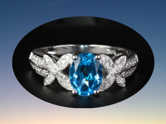 Oval Blue Topaz Engagement Ring Pave Diamond Wedding 14K White Gold butterfly shank