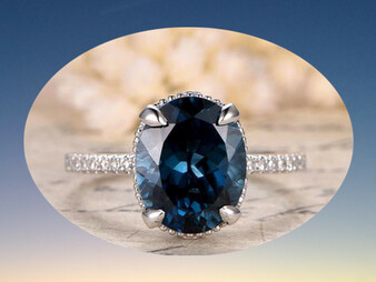 Oval London Blue Topaz Engagement Ring Diamond Wedding 14K White Gold 9x11mm Vintage