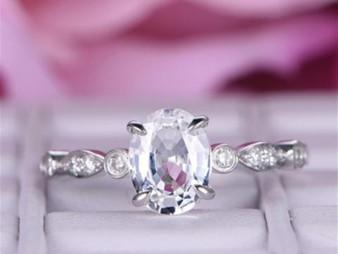 Oval White Topaz Engagement Ring Diamond Art Deco Shank 14K White Gold 6x8mm