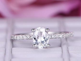 Oval White Topaz Engagement Ring Pave Diamond Wedding 14K White Gold 6x8mm