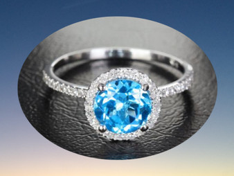 Round Blue Topaz Engagement Ring Pave Diamond Wedding 14k White Gold 7mm