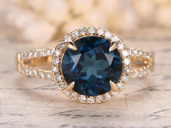 Round London Blue Topaz Engagement Pave Diamond Wedding Ring 14K Yellow Gold 8mm