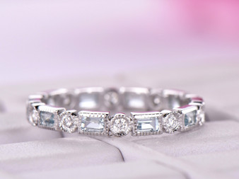 Baguette Aquamarine Round Full Cut Diamond Wedding Band Eternity Anniversary Ring 14k White Gold Milgrain