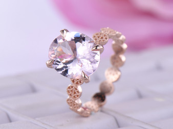 Oval Morganite Engagement Ring 14K Rose Gold 10x12mm,Scalloping Shank