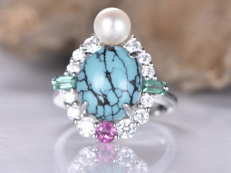 Oval Turquoise Cathedral Ring Pearl/Moissanite/Tourmaline 14K White Gold Art Nouveau 10x12mm