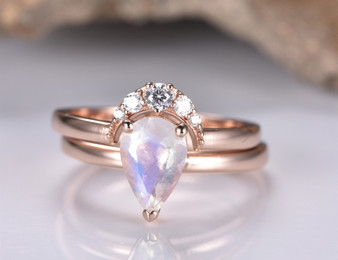 2pc Bridal Set, 6x9mm Pear Moonstone Wedding Ring and Diamond Crescent Band
