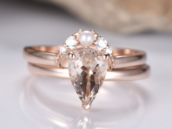 2pc Bridal Set,Pear Morganite Weddibg Ring Pearl Diamond Crescent Band 14K Rose Gold 6x9mm