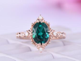 Full Cut Diamond Oval Emerald Engagement Ring 14k Rose Gold 7x9mm