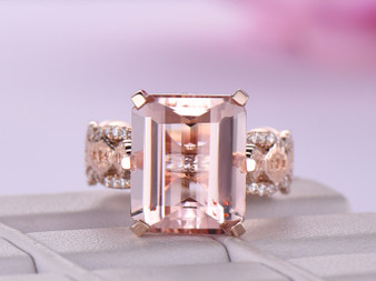 Lace Pattern Shank Emerald Cut Morganite Engagement Ring 14K Rose Gold 10x12mm