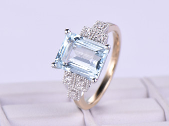 14K Two Tone Gold Emerald Cut Aquamarine Engagement Ring Diamond Wedding 8x10mm