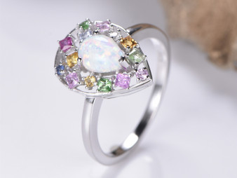 Colorful Sapphire Floral Wreath Halo Pear Opal Engagement Ring 14K White Gold 6x8mm