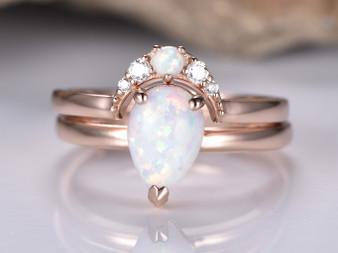 2pc Bridal Set,Pear Opal Wedding Moissanite Crescent Band 14K Rose Gold 6x8mm